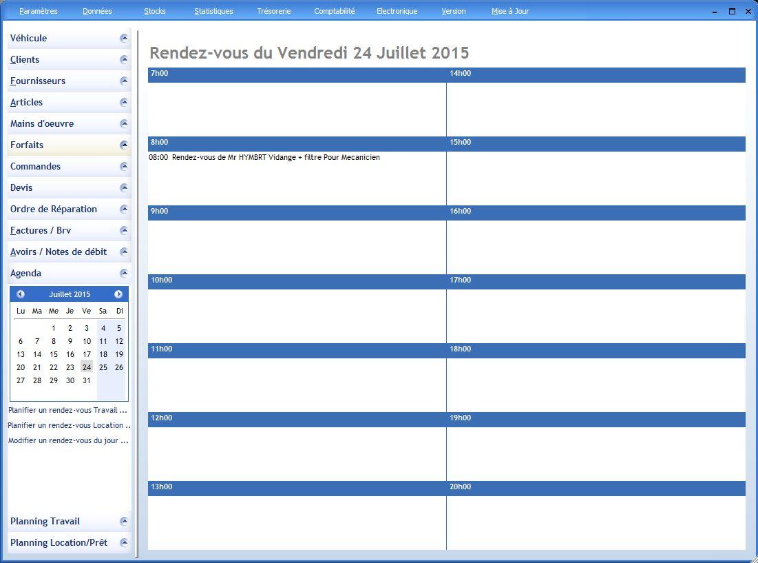 Agenda et planning logiciel garage for Gestion de garage