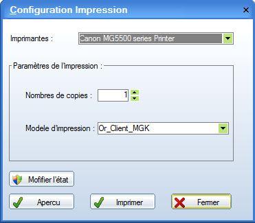 Etat impression logiciel garage for Gad garage mise a jour