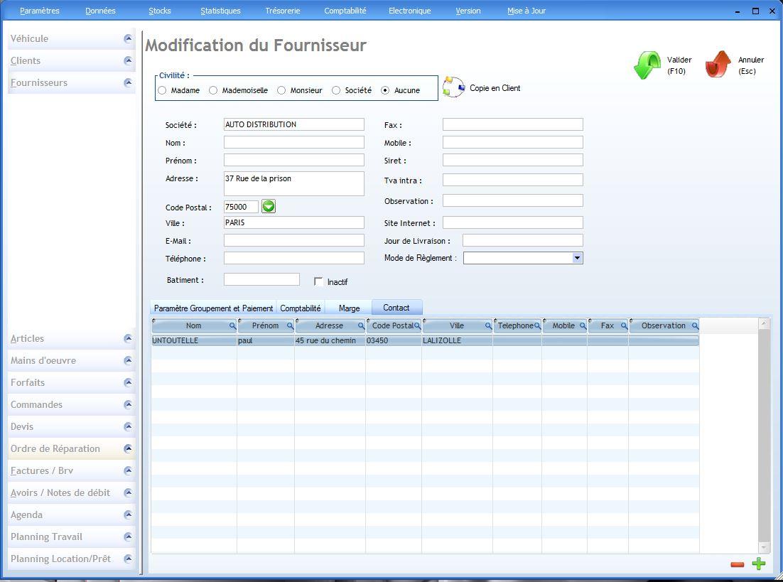 Fournisseurs logiciel garage for Gad garage v9