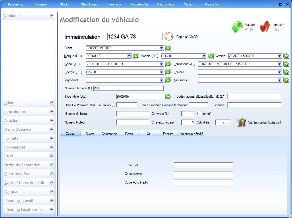 V hicules logiciel garage for Logiciel gestion garage